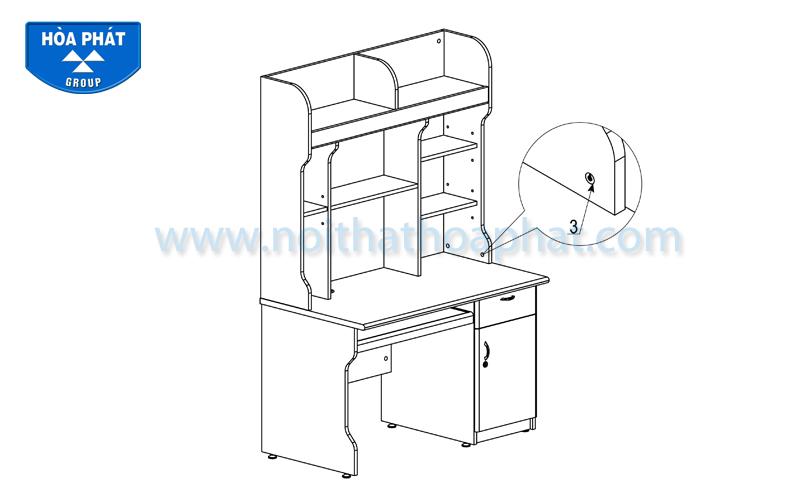 Hướng dẫn lắp đặt bàn liền giá sách NTB02A