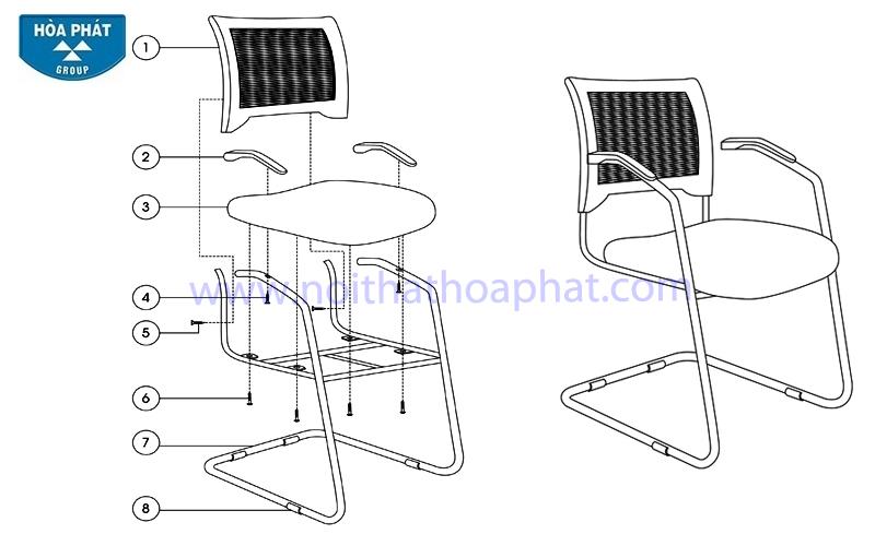 Hướng dẫn lắp đặt ghế lưới GL407