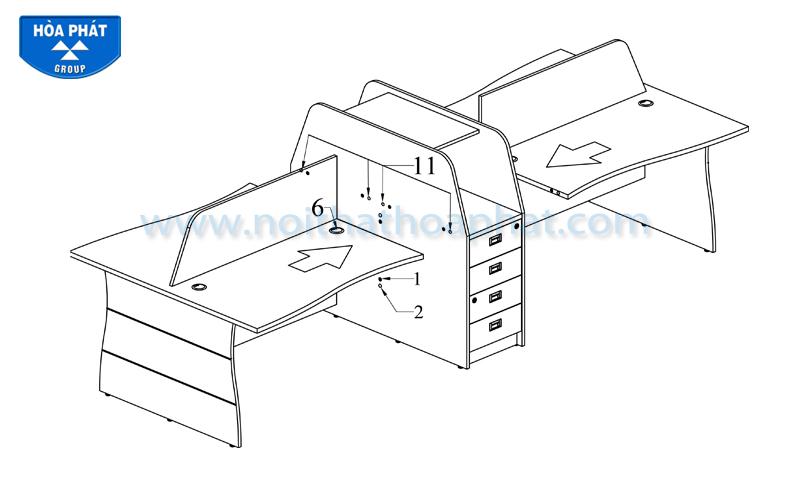 Hướng dẫn lắp đặt Module bàn làm việc HRMD03