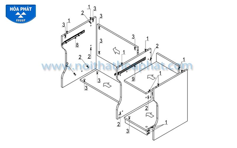 Hướng dẫn lắp đặt bàn liền giá sách NTB01A
