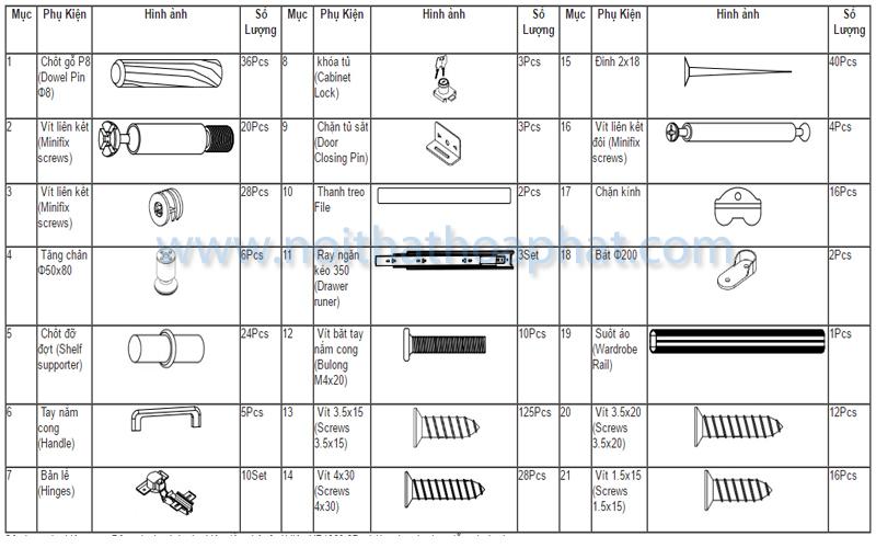 Phụ kiện lắp đặt tủ tài liệu gỗ HR1960-3B