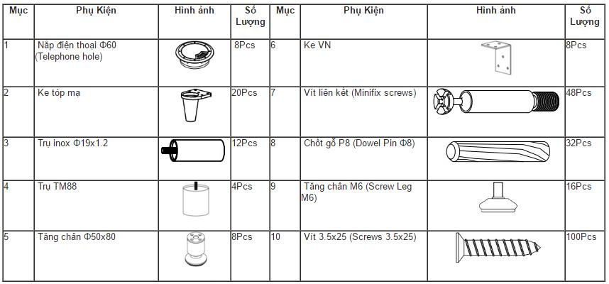 Phụ kiện lắp đặt Module bàn làm việc HRMD02