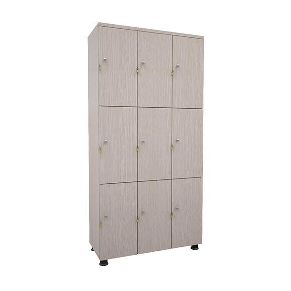 Tủ locker gỗ tai khóa ngoài TUG09 | Tủ locker gỗ 9 ngăn